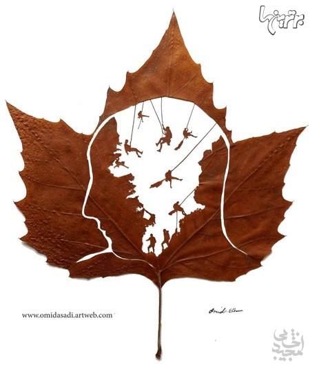 آثاری خلاقانه با برگهای درختان