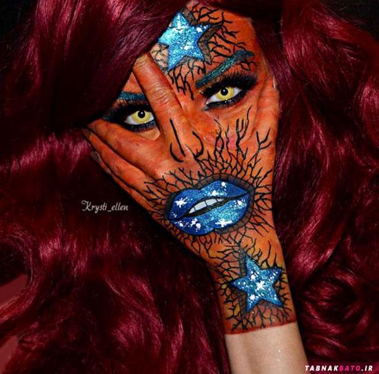 هنر نقاشی روی صورت با کمک دست