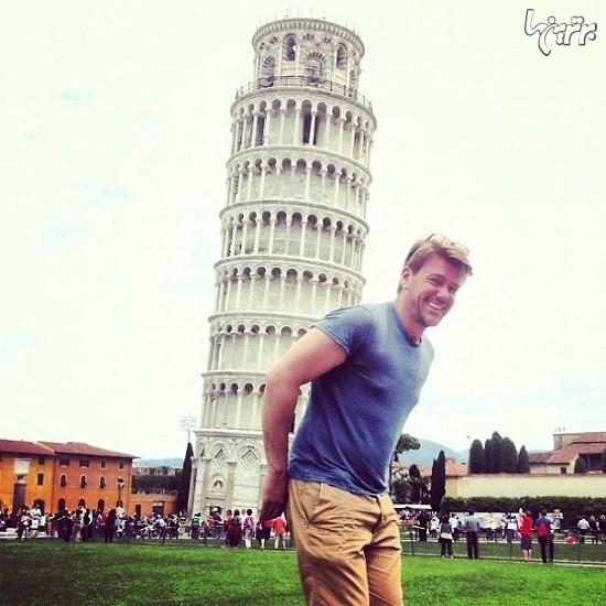 عکس های خلاقانه گردشگران با برج کج پیزا