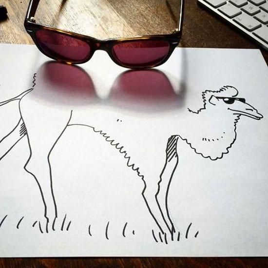 ترسیم هنرمندانه نقاشی با سایه اشیا!