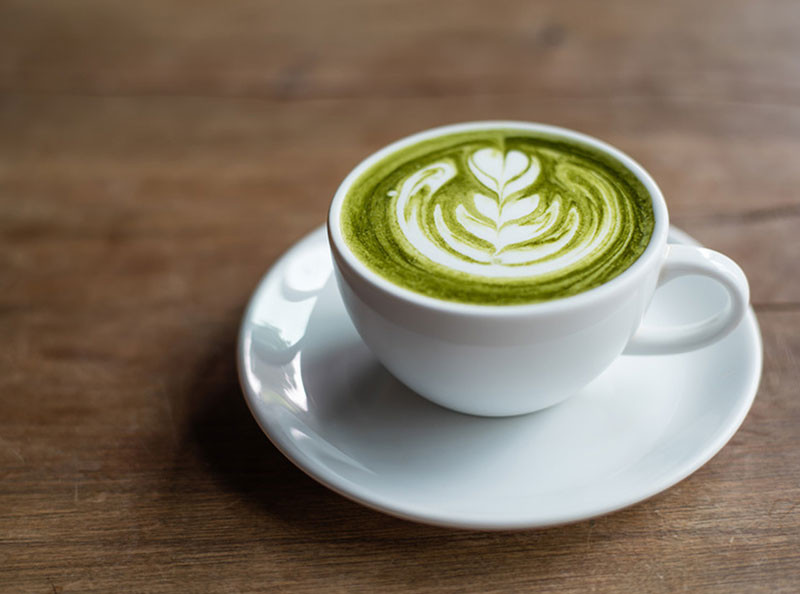 لاته چای سبز و اسپرسو