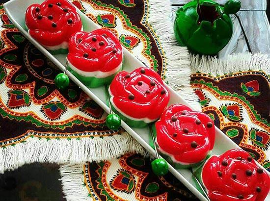 ژله گل با تزئین هندوانه