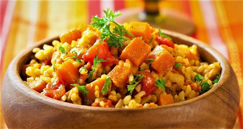 پلوی کدو حلوایی غذای مازندرانی